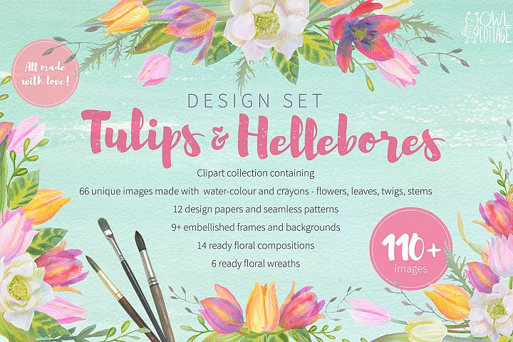 Floral Design Pack (watercolor & pastel) - Free Design of The Week Font