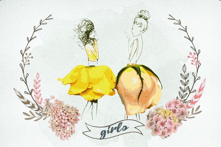 Romantic girls in flower skirt