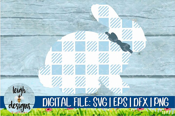 Buffalo Plaid Bunny with Bowtie SVG EPS DFX PNG Cut File