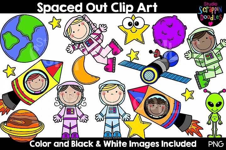 Spaced Out Clip Art - Cute Outer Space Astronaut Graphics