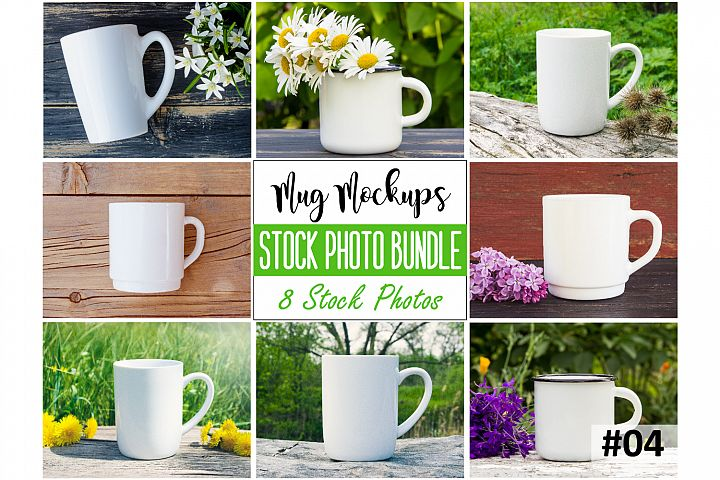 Mug mockup bundle 4, coffee cup, stock photo bundle