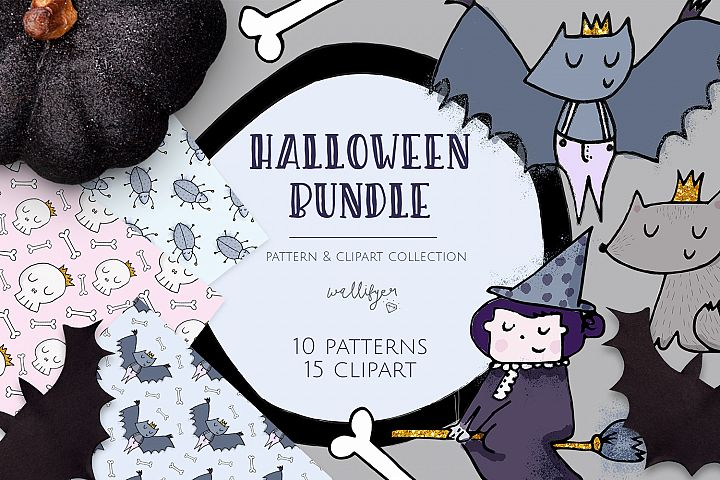 Halloween clipart and pattern bundle
