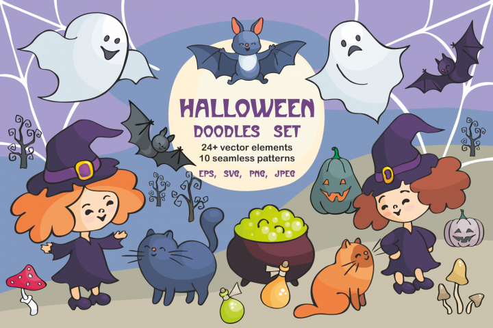 Halloween doodles set. Vector cliparts and seamless patterns