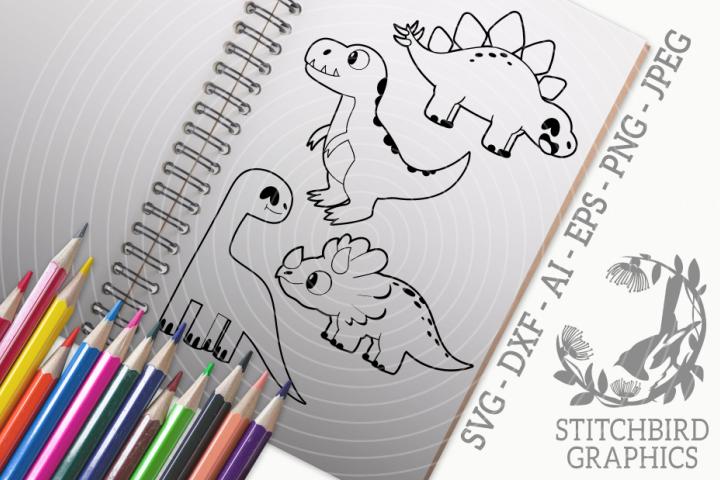 Dinosaurs 2 Bundle SVG, Silhouette Studio, Cricut, Eps, JPEG