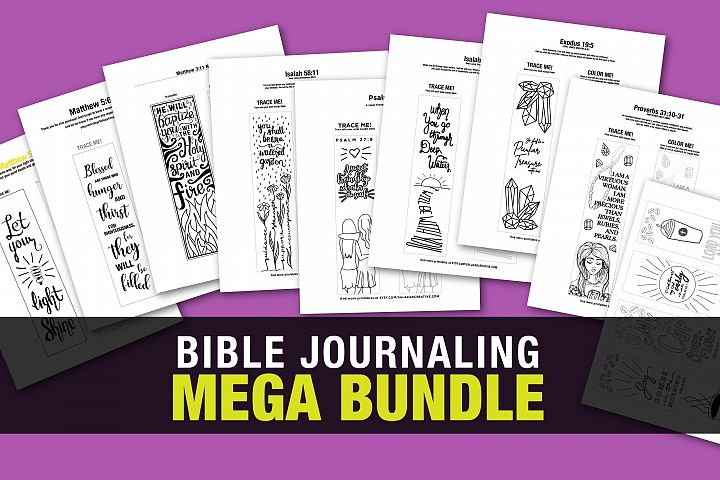 Bible Journaling Coloring Template - MEGA BUNDLE 12 Designs