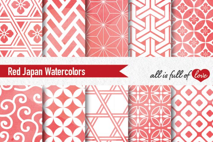 Red Digital Paper Japanese Background Patterns