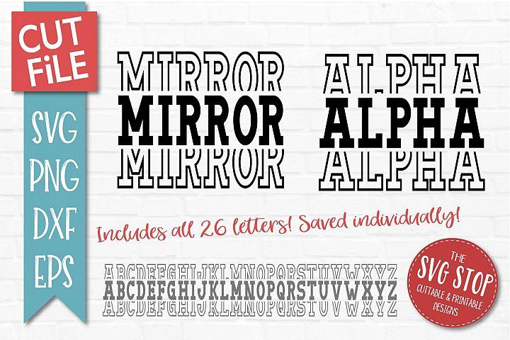 Mirror Alphabet Font - SVG, PNG, DXF, EPS