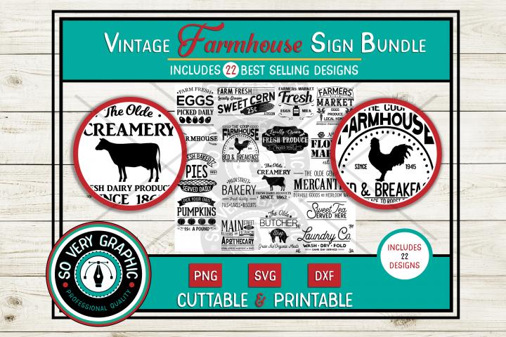 Vintage Farmhouse Sign Bundle | 22 Designs | SVG | PNG | DXF