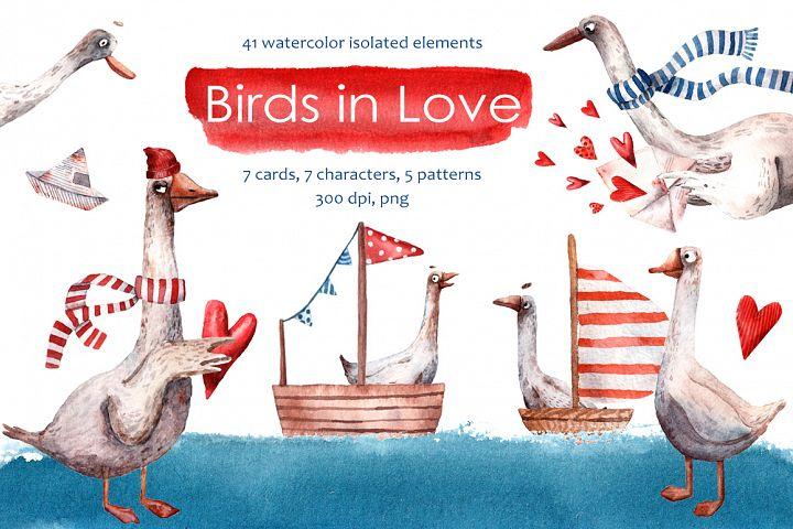 Birds in Love - Watercolor Clip Art Set