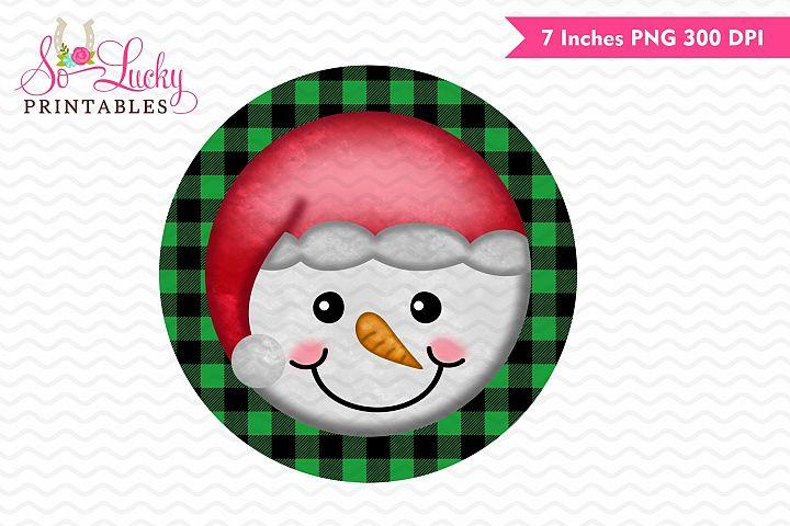 Christmas snowman face printable sublimation design