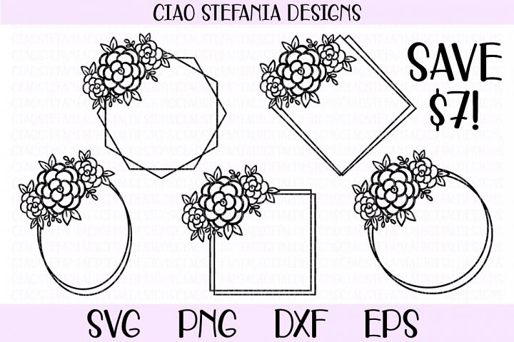 Flower Geometric Frames Bundle Wedding SVG PNG DXF EPS Cut