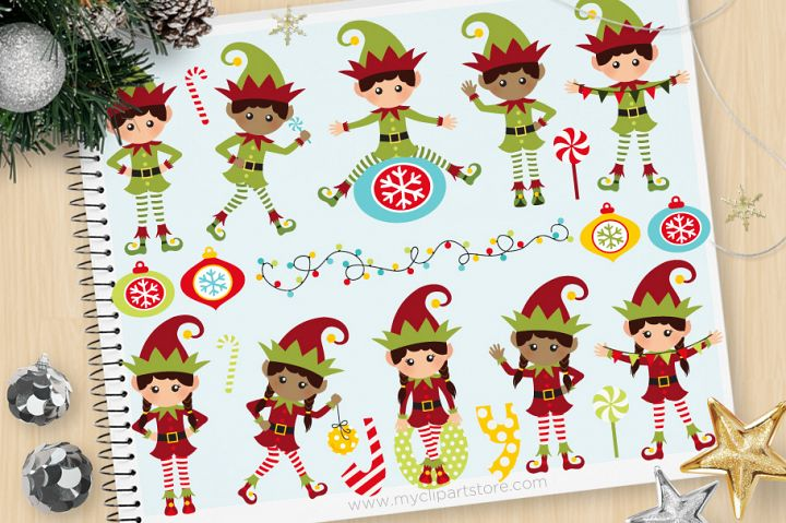 Santas Elves. Christmas Clipart - Vector Clip Art & SVG