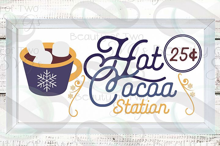 Hot Cocoa Station Winter svg, Winter svg sign, snowflake svg