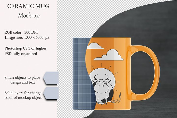 Ceramic mug mockup. Product place. PSD object mockup.