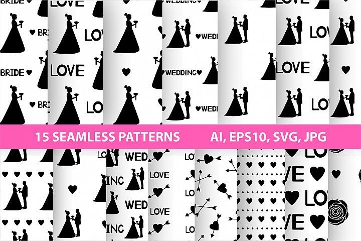 Black and white wedding digital paper. SVG, Ai, EPS 10, JPEG