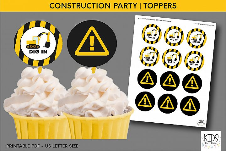 Construction party cupcakes toppers, 2 printable toppers