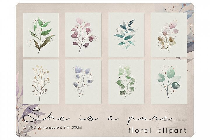 Watercolor and Rose Gold Floral Clipart