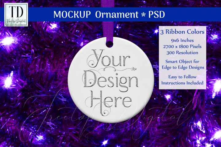 Round Christmas Ornament Mockup, Bauble Mock-Up, Purple, PSD