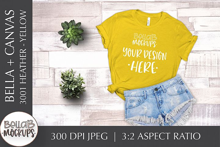 Bella Canvas 3001 Heather Womans T Shirt Mockup, Yellow