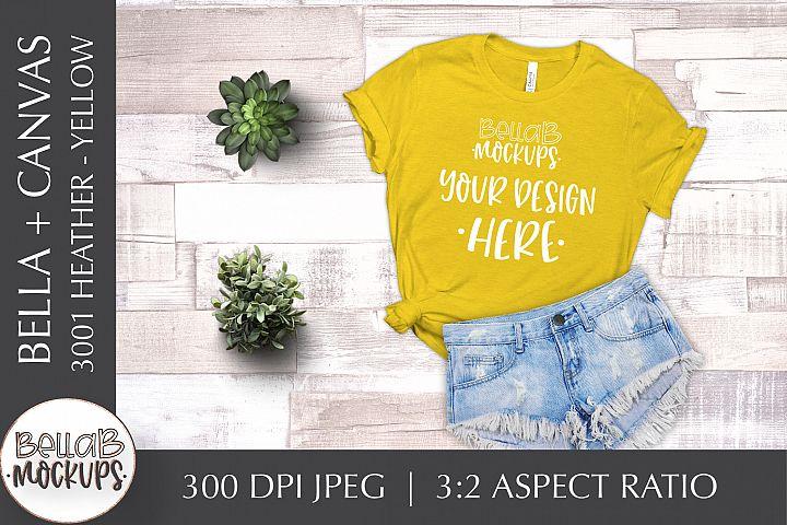 Bella Canvas 3001 Heather Womans T Shirt Mockup, Yellow