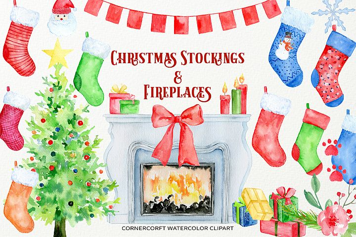 Christmas Stockings and Fireplaces Clipart