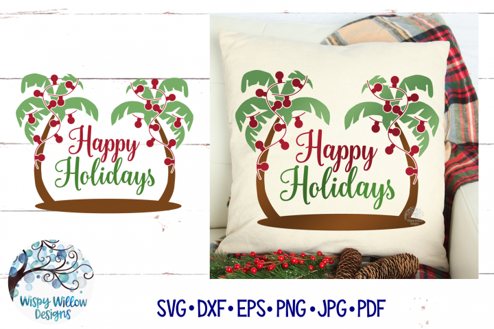 Palm Tree Happy Holidays| Tropical Christmas SVG Cut File