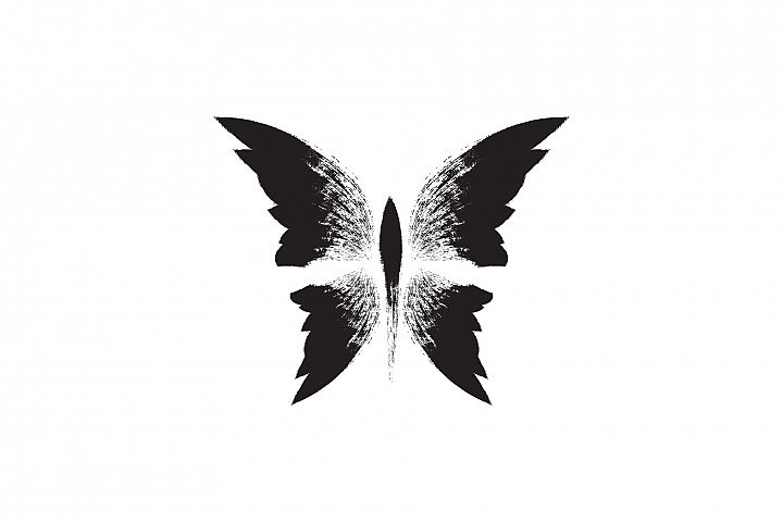 Butterfly. Black hand drawn butterfly. Tattoo illustration.