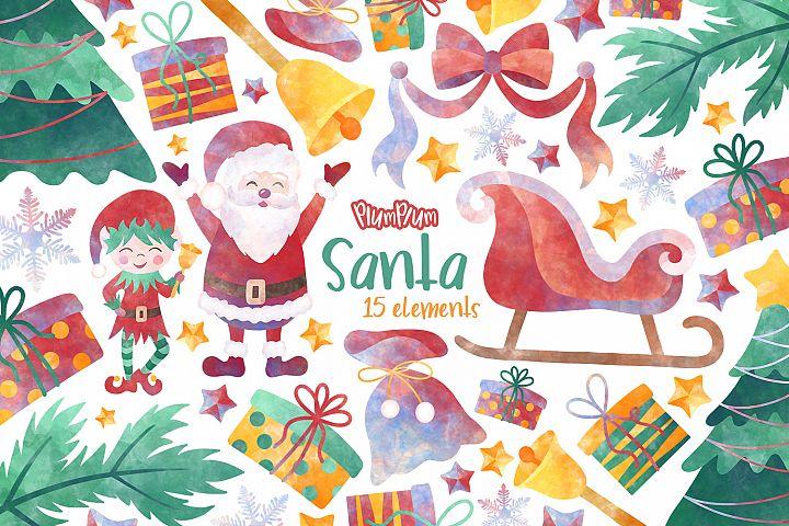 Santa Watercolor Cliparts
