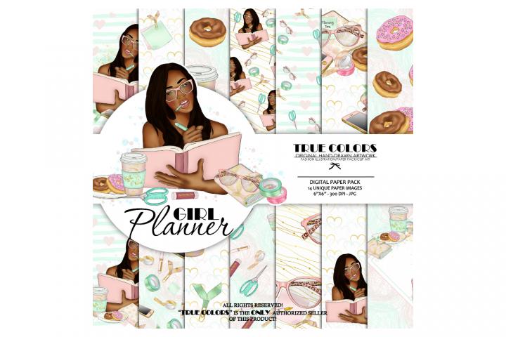 African American Planner Girl African American Digital Paper