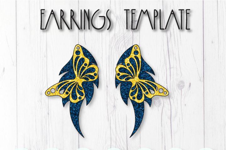 Butterfly earrings template SVG, DIY earrings template
