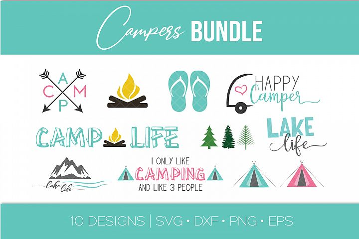 Camping SVG Bundle - Camper - Teepee - Lake Life - Arrows