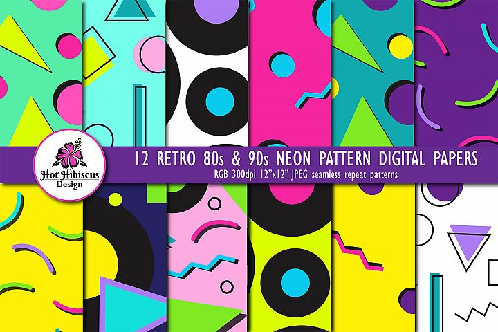 12 80s 90s Style Retro Neon Pop Art Pattern Digital Papers
