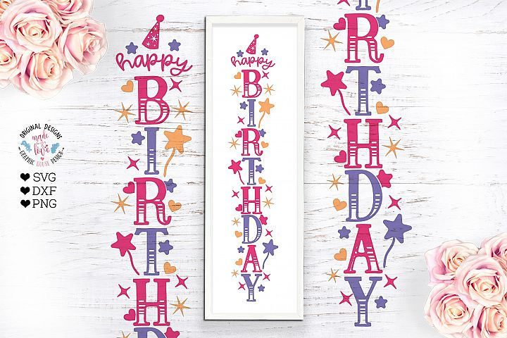 Happy Birthday Vertical SVG Sign - Birthday SVG