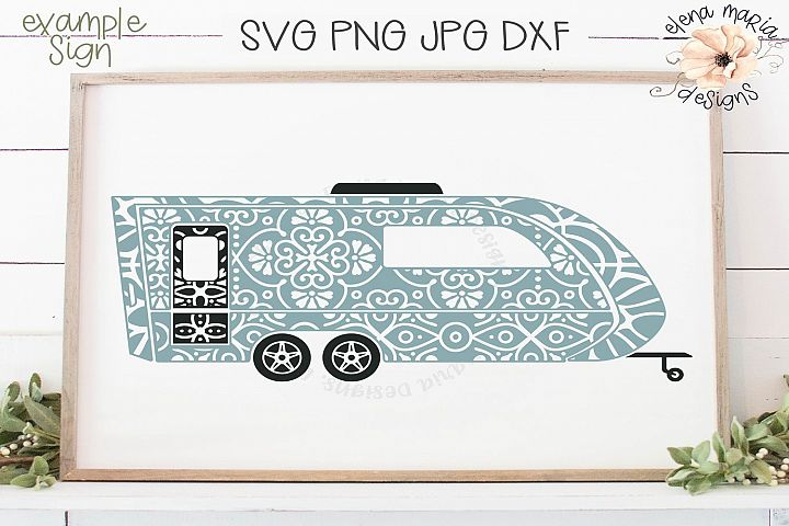 Camper Mandala Svg | RV Camping Trailer Zentangle