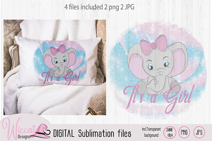 Baby girl Elephant with big bow illustration