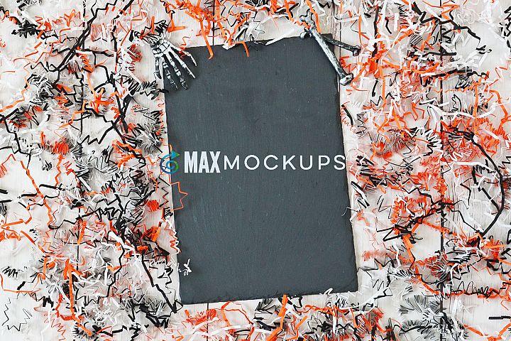 Slate sign Mockup, Halloween display, styled stock image