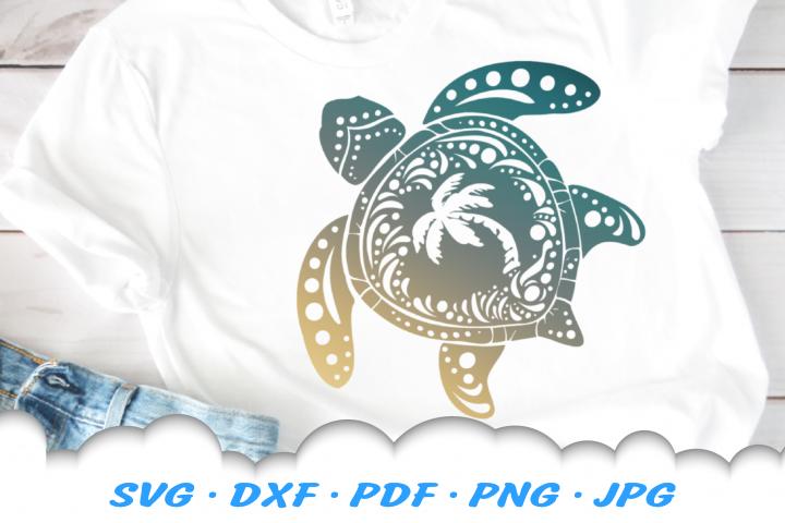 Mandala Sea Turtle Palm Beach SVG DXF Cut Files