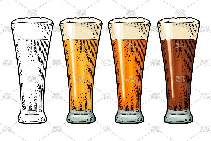 Glass different types beer lager ale stout. Color engraving