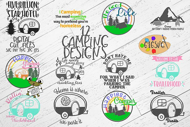 Camping Bundle with 12 Designs SVG