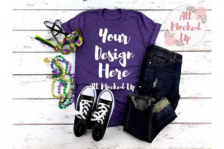 Bella Canvas 3413 PURPLE Shirt Mock Up Mardi Gras 1/19