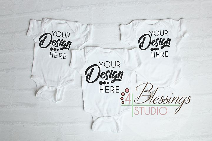 Triplet Three Blank White Baby Bodysuits Shirt Mockup