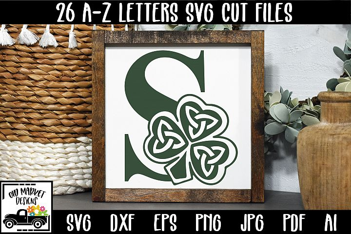 Shamrock Alphabet Letter A-Z SVG Cut Files