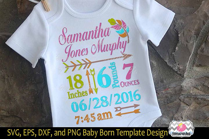 SVG, Dxf, Png & Epss Baby Birth Announcement Template