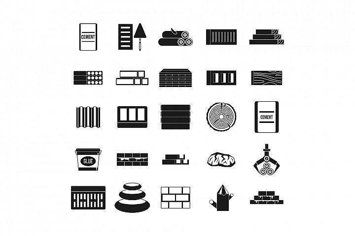 Construction materials icon set, simple style