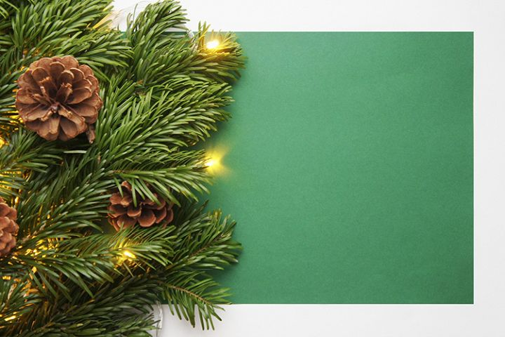 Christmas and New Year background with garland and cones