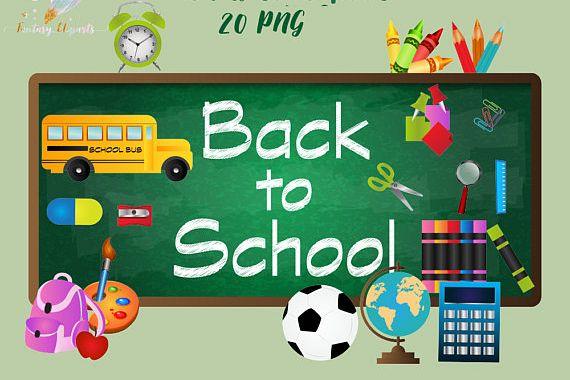 Back to School Clipart (48906)   Illustrations   Design Bundles