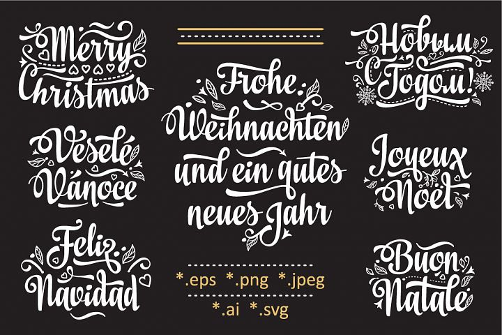 Christmas template. Neues Jahr, Frohe Weihnacht, Novij God, Buon Natale, Vesele Vanose, Feliz Navidad, Joyeux Noel. Christmas lettering.