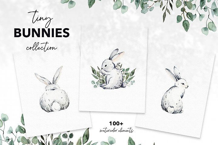 TINY BUNNIES COLLECTION, easter watercolor spring bunnies