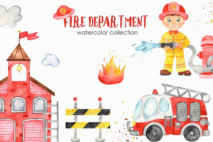 Watercolor Fire Department. Clipart, premade cards, patterns