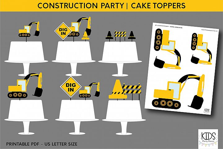 Construction party cake topper, birthday party printables
